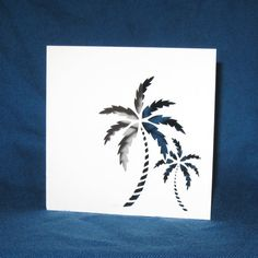 Hand Cut Palm Trees Card    This tropical palm trees card is perfect for any occasion.    Each card is cut by hand out of Pure White
