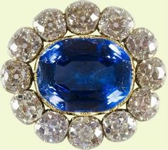 Queen Victoria's Wedding Brooch: 1840, sapphire, diamonds and gold. A gift from Prince Albert for their wedding.