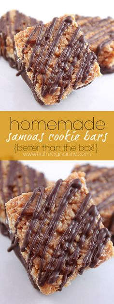 These homemade girl scout samoas cookie bars are better than the original! Easy to make and packed full of caramel, chocolate and coconut flavor!