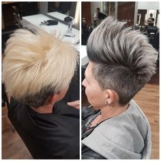 #before #after #granny #hair #hairstyle #shorthair #grey #womanshair #atwork #lovemyjob #silver #silverhair #metallic