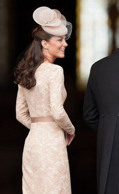 Kate Middleton, Dutchess of Cambridge, in another Alexander McQueen dress at the service of thanksgiving. Beautiful nude lace!