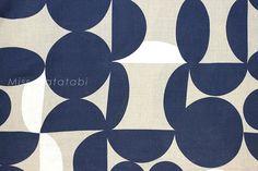 Japanese Fabric  Linen Stones  navy white by MissMatatabi on Etsy