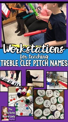 Learning the names of the treble clef lines and spaces is a basic music skill. Using workstations to practice it only makes sense. See ideas for using centers in your music classroom to teach pitch names of notes on the treble clef staff. Elementary Music Lessons, Piano Lessons, Elementary Schools, Primary Lessons, Music Education Activities, Physical Education, Health Education, Science Education, Middle School Music