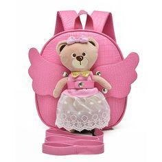 The new pu leather cute teddy bear cartoon angel kindergarten bag fashion children backpack backpack lost prevention belt