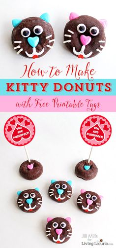 How to make cute kitty cat donuts. Fun food recipe idea purr-fect for a pet themed birthday party or Valentine's Day. Edible craft with free printable tags. Edible Crafts, Food Crafts, Valentines Day Food, Valentine Day Crafts, Oreo Dessert, Mini Desserts, Donuts, Free Printable Gift Tags, Free Printables