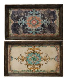Another great find on #zulily! Black Ornate Tray - Set of Two #zulilyfinds