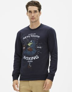 printed sweatshirt California - FEPREMBIS_NAVYBLUE02 - Front View - Celio France