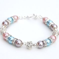 Bridesmaid Jewelry Pastel Pearl Rhinestone Bracelet by AMIdesigns, $24.00