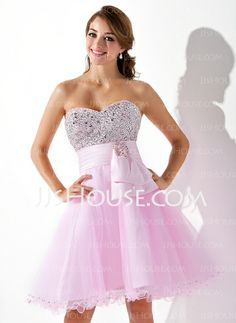 Homecoming Dresses - $116.99 - Empire Sweetheart Knee-Length Satin Tulle Homecoming Dress With Beading Sequins (022020962) http://jjshouse.com/Empire-Sweetheart-Knee-Length-Satin-Tulle-Homecoming-Dress-With-Beading-Sequins-022020962-g20962