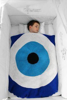 Evil Eye Baby Blanket TXT001 by GoodLucktoAll on Etsy