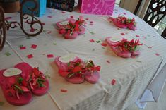 "Party favors for ""Spa Party"".  Inexpensive flip flops with lots of ribbon!  These were a hit and I still see girls wearing these a year later!!"