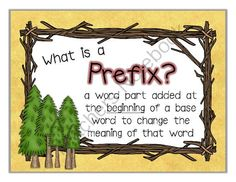 Camping Themed Prefix and Suffix Mini Posters from Rachael Parlett on TeachersNotebook.com -  (17 pages)  - Add to your camping decor by displaying these prefix and suffix mini posters as reminders for your students of what the prefix and suffix means.