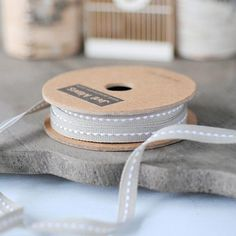 Narrow Grey Stitched Ribbon 7mm perfect for weddings by Jane Means