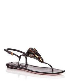 Black leather jewelled sandals by Prada on secretsales.com