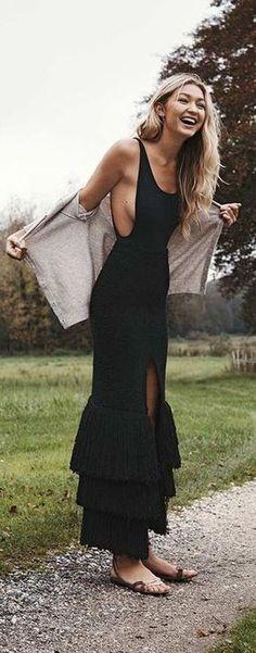 2017 Custom Made Black Prom Dress,Sleeveless Party Dress,Side Slit Evening Dress Look Fashion, Fashion Outfits, Womens Fashion, Fashion Tips, Fashion 2015, Fashion Hacks, French Fashion, Dress Fashion, Trendy Outfits
