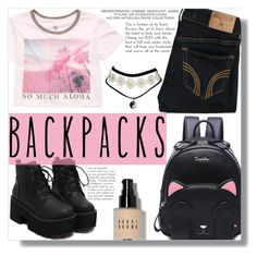 """Back To School"" by ash-marvel ❤ liked on Polyvore featuring Billabong, Hollister Co., Bobbi Brown Cosmetics, backpacks, contestentry and PVStyleInsiderContest"