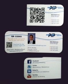 Creative QR code business card. When closed, you see the QR code with the persons information. When you open it, you see more information about the person with a photo. On the back, all the social media connection details are listed. Click the photo to see 40 other QR code business cards.