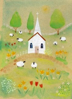 Louise Rawlings - Springtime Church - Artists & Illustrators - Original art for sale direct from the artist