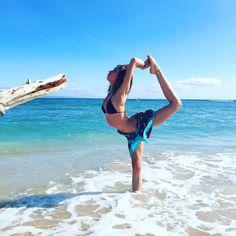 Join us for a Yoga Retreat on Maui!   Dancer's pose with Olivia, natarajasana  www.maui-yoga.com