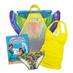 Serena's Rainbow Reef Mermaid Essentials Gift Bundle.  Includes a Fin Fun Mermaid tail, Monofin, Swimsuit (Tankini or Bikini and bottoms), Coloring book and Backpack