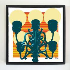 "Overflow series: ""5 Lamps"" 24 x 24 inch, digital art & gloss and matte gel on stretched canvas. 26.5 x 26.5 inch, float frame - black flat. ---------------------------------------- #popart #popartist #digitalart #contemporaryart #colorfield #abstractart #gloss #matte #art #canvas #jonsavagegallery"