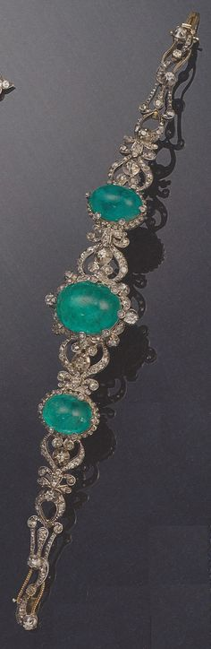 An antique diamond and emerald bracelet, 19th century. Provenance: Princess Hanna of Liechtenstein (1849-1925). Source: Signature Styles: Fine Jewellery and Iconic Jewels from the 20th century. Bonhams, 6 December 2007, London.