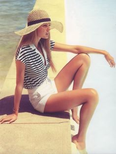 white shorts, nautical tee + sun hat