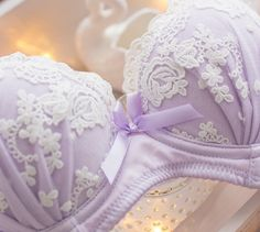 Hope lace embroidered bra and panty set from petitecherry.com >> http://www.petitecherry.com/products/hope-push-up-demi-bra-set-purple