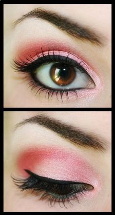This is a bright pink look with a thin line of liner. The look is appropriate for a romantic date or a traditional event
