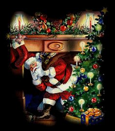 Santa Inside Home With Shimmering Christmas Tree christmas christmas tree christmas pictures christmas gifs christmas images christmas photos The Night Before Christmas, Noel Christmas, Merry Christmas And Happy New Year, Christmas Glitter, Xmas Gif, Holiday Gif, Christmas Scenes, Christmas Pictures, Whimsical Christmas