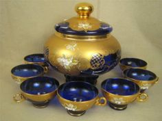 Vintage Czech Bohemian Cobalt Gilded Glass Covered Punch Bowl with 7 Cups | eBay