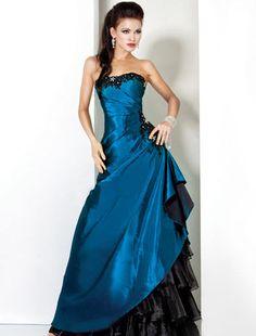 Moda de 15 años » Vestidos negros con azul de xv años3