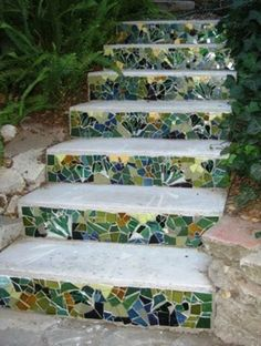 Mosaic in the garden elegant staircase with colorful steps