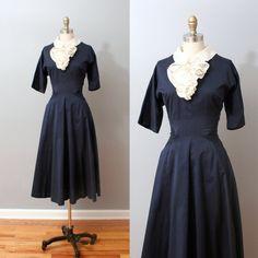 1950s Dress - Navy Full Skirt Party Dress with Ruffle Ascot. $94.00, via Etsy.