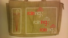 Vintage tan tote bag rainy day bag umbrella by SunDriedTomatoes, $27.00
