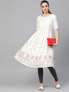 Amusing off white embroidered aline kurta crafted with silk blend also style with beads and stones. Kurta Patterns, Indian Dresses Online, Lehenga Style, Girl Photography, Off White, Midi Skirt, Fashion Dresses, Stones, Silk