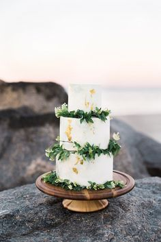 Marbled Wedding Cake with Gold Leaf