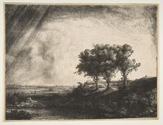 The Three Trees is Rembrandt's largest and most striking etched landscape. Here…