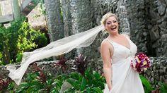 Outrigger Fiji Beach Resort Veil Photography Bouquet Gown Dress White Nature Garden Beach Dress Palms Tropical Wedding Ideas Inspiration Planning