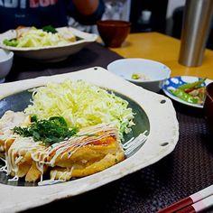 鶏胸の豆腐の挟み焼き三┏( ^o^)┛お腹パツンパツン(›´-`‹ )いつ痩せるのかな?笑  #デブまっしぐら#食べるの大好き#肉#久しぶりの手料理#初めてのハッシュタグ#なんか恥ずかしい