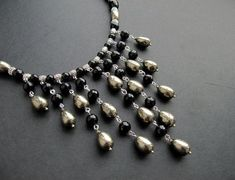 Bib Necklace. Note the bail beads used as spacers.  #Wire #Jewelry #Tutorials