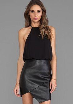 Black Patchwork PU Leather False 2-in-1 Irregular Sleeveless Dress