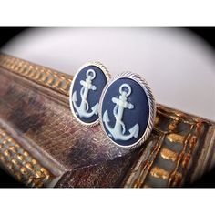 Anchor Cameo Post Earrings- Navy Blue & White Nautical Cabochons on... ($23) ❤ liked on Polyvore