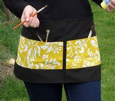 Ready for the job Yellow prints & black hal... - Folksy