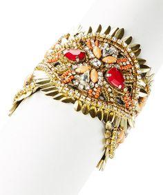$8.99 Look at this #zulilyfind! Red & Goldtone Bead Bracelet #zulilyfinds