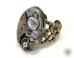 Steampunk Ring - Oval Clockwork on Brass Filigree from Compass Rose Design Jewelry www.compassrosedesignjewelry.com