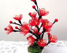 Items similar to Handmade Colorful Nylon Orchids Arrangement on Etsy