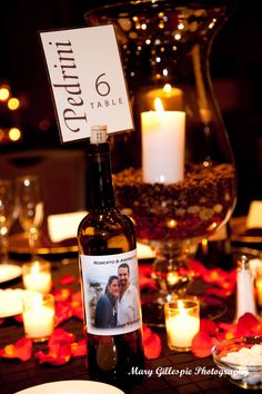 Wine Bottle Table Number Holder, Coffee Bean Centerpieces. Wedding Receptions, Table Settings.  www.marygphotography.com