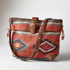 HEARTHSIDE STORIES BAG -- Hold history in your hands with this thoughtfully crafted, crossbody blanket bag. Vintage studded strap and belt tab buckle. - Perfect boho chic or cowgirl chic accessory! Cute idea for unused horse blankets Cowgirl Chic, Cowgirl Style, Ladies Side Bags, Fashion Bags, Fashion Jewelry, Carpet Bag, Boho Bags, Bag Making, Leather Bag