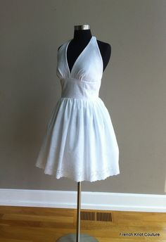 TWINKLE TOES, Short Wedding Dress, Halter White. $215.00, via Etsy.